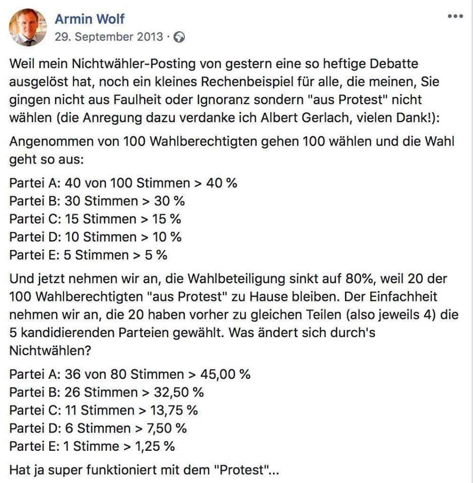Armin Wolf Facebook-Posting Nationalratswahl 2013